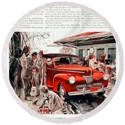 1941 - Ford Super Deluxe Automobile Advertisement - Color Round Beach Towel