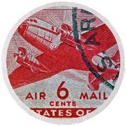 1941 - 1944 Six Cents Air Mail Stamp -  U. S. Army Cancelled Round Beach Towel