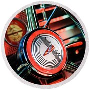 1941 Buick Eight Special Steering Wheel Emblem Round Beach Towel