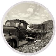 1941 Chevy Truck In Sepia Round Beach Towel