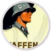 1941 - German Waffen Ss Recruitment Poster - Nazi - Color Round Beach Towel