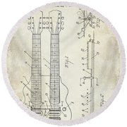 1941 Gibson Electric Guitar Patent Drawing Round Beach Towel