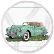 1941 Lincoln V-12 Continental Round Beach Towel