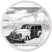 1941 Plymouth Woody Round Beach Towel
