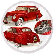 1941 V 12  Lincoln Continental Round Beach Towel