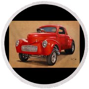 1941 Willys Gasser Coupe Drawing Round Beach Towel
