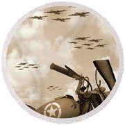 1942 Indian 841 - B-17 Flying Fortress' Round Beach Towel