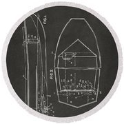 1943 Chris Craft Boat Patent Artwork - Gray Round Beach Towel