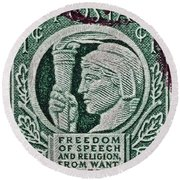 1943 Freedom Of Speech And Religion Stamp Round Beach Towel