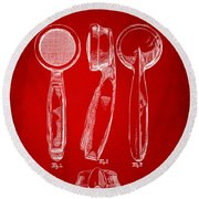 1944 Microphone Patent Red Round Beach Towel