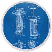 1944 Wine Corkscrew Patent Artwork - Blueprint Round Beach Towel