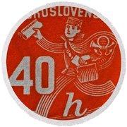 1945 Czechoslovakia Newspaper Stamp Round Beach Towel