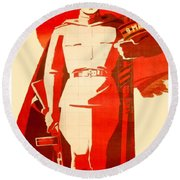 1946 - Soviet Red Army Victory Poster - Color Round Beach Towel