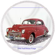 Ford Special Deluxe Coup E  From 1946  Round Beach Towel