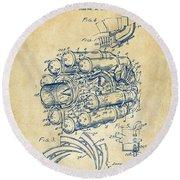 1946 Jet Aircraft Propulsion Patent Artwork - Vintage Round Beach Towel