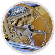 1947 Cadillac 62 Steering Wheel Round Beach Towel