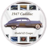 1947 Cadillac Model 62 Coupe Art Round Beach Towel