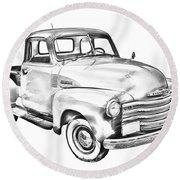 1947 Chevrolet Thriftmaster Pickup Illustration Round Beach Towel