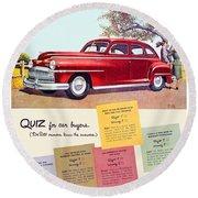 1947 - Desoto Automobile Advertisement - Color Round Beach Towel