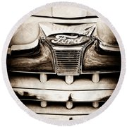 1947 Ford Deluxe Grille Grille Emblem Round Beach Towel