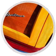 1947 Ford Super Deluxe Sportsman Convertible Taillight Emblem Round Beach Towel