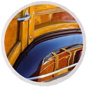 1947 Mercury Woody Reflecting Into 1947 Ford Woody Round Beach Towel