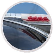 1947 Plymouth Hood Ornament Round Beach Towel