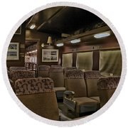 1947 Pullman Railroad Car Interior Seating Round Beach Towel