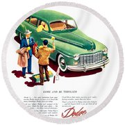 1948 - Dodge Automobile Advertisement - Color Round Beach Towel
