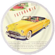 1948 - Oldsmobile Convertible Automobile Advertisement - Color Round Beach Towel