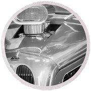1948 Anglia Engine -522bw Round Beach Towel