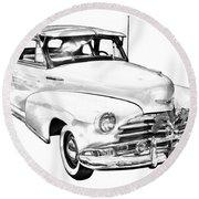 1948 Chevrolet Fleetmaster Antique Car Illustration Round Beach Towel
