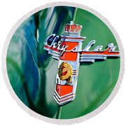 1948 Chrysler Town And Country Convertible Emblem -0974c Round Beach Towel