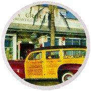 1948 Ford Woody Station Wagon Round Beach Towel