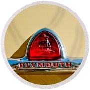 1948 Plymouth Deluxe Emblem Round Beach Towel