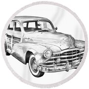 1948 Pontiac Silver Streak Woody Illustration Round Beach Towel