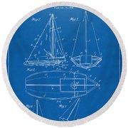 1948 Sailboat Patent Artwork - Blueprint Round Beach Towel