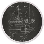 1948 Sailboat Patent Artwork - Gray Round Beach Towel
