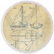 1948 Sailboat Patent Artwork - Vintage Round Beach Towel