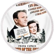 1948 - State Of The Union Motion Picture Poster - Spencer Tracy - Katherine Hepburn - Mgm - Color Round Beach Towel