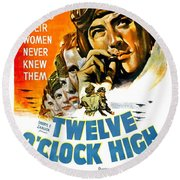 1949 - Twelve O Clock High Movie Poster - Gregory Peck - Dean Jagger - 20th Century Pictures - Color Round Beach Towel