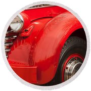 1949 Diamond T Truck Front End Round Beach Towel
