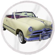1949 Ford Custom Deluxe Convertible Round Beach Towel