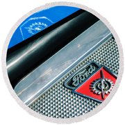 1949 Ford F-1 Pickup Truck Step Plate Emblem -0043c Round Beach Towel