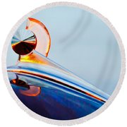 1949 Ford Hood Ornament 2 Round Beach Towel