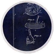 1949 Golf Putter Patent Drawing Blue Round Beach Towel