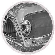 1949 Mercury Club Coupe Bw   Round Beach Towel