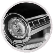 1949 Plymouth P-18 Special Deluxe Convertible Steering Wheel Emblem Round Beach Towel