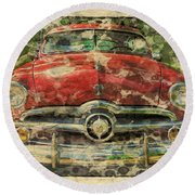 1949 Red Ford Coupe Round Beach Towel