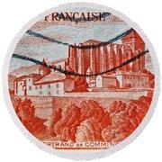 1949 Republique Francaise Stamp Round Beach Towel